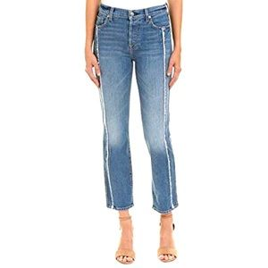 7 for All Mankind Frayed Crop Straight Leg Jeans